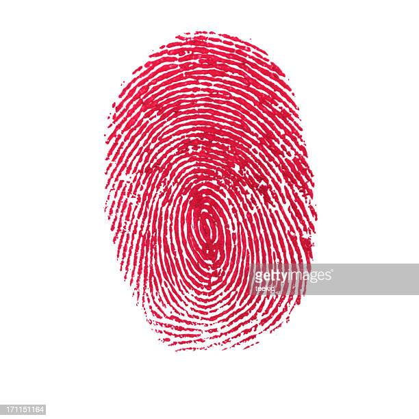 Red Isolated Fingerprint On White Background