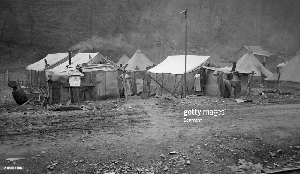 View of tent colony of striking miners. & Coal Strike in West Virginia Pictures | Getty Images
