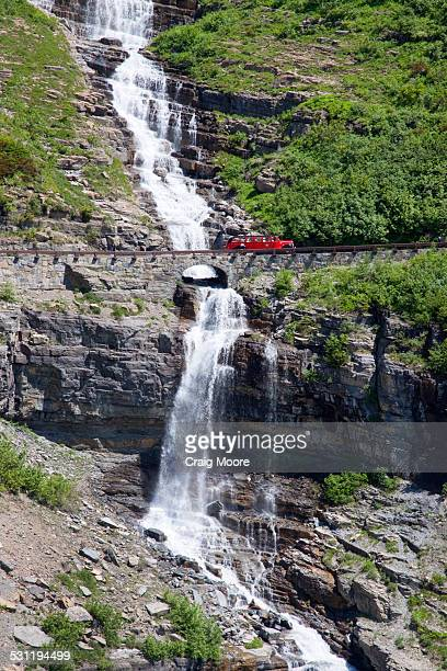 Red Jammer bus in Glacier National Park, Montana.