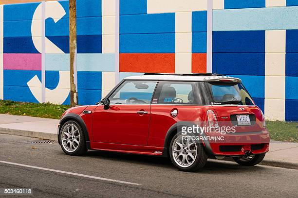 red jcw - vehicle brand names stock photos and pictures