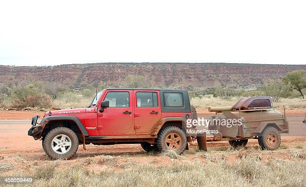 Red Jeep Wrangler and trailer, Mereenie Loop, Northern Territory