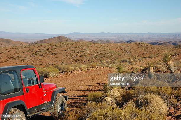 red jeep wrangler driving offroad rocky track in flinders ranges - jeep wrangler stock photos and pictures