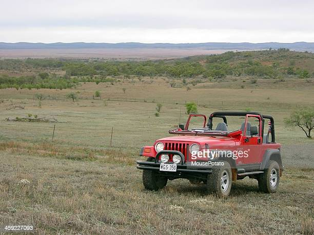 red jeep wrangler windscreen folded down flinders ranges - jeep wrangler stock photos and pictures