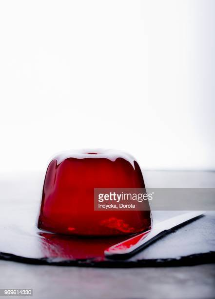 red jelly - gelatin dessert stock photos and pictures