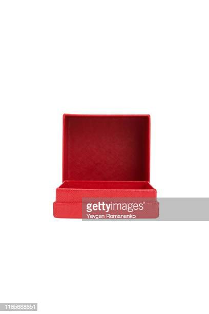 red jewellery box isolated on white background - 宝石箱 ストックフォトと画像