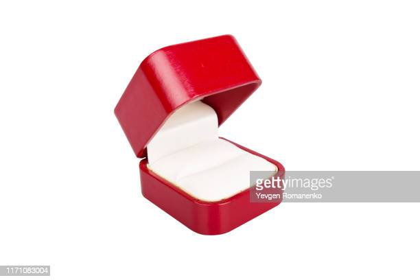 red jewelry box on white background - 宝石箱 ストックフォトと画像