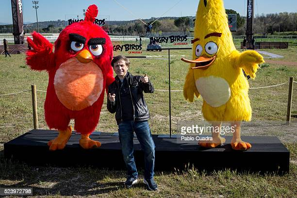 Red Jose Mota and Chuck attend the 'Angry Birds' photocall at the 'La Zarzuela' racecourse on April 25 2016 in Madrid Spain