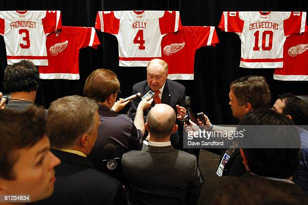 Red Kelly speaks to the media during Salute to Stanley Cup Legends at the Renaissance Center as the NHL honors members of the Detroit Red Wings...