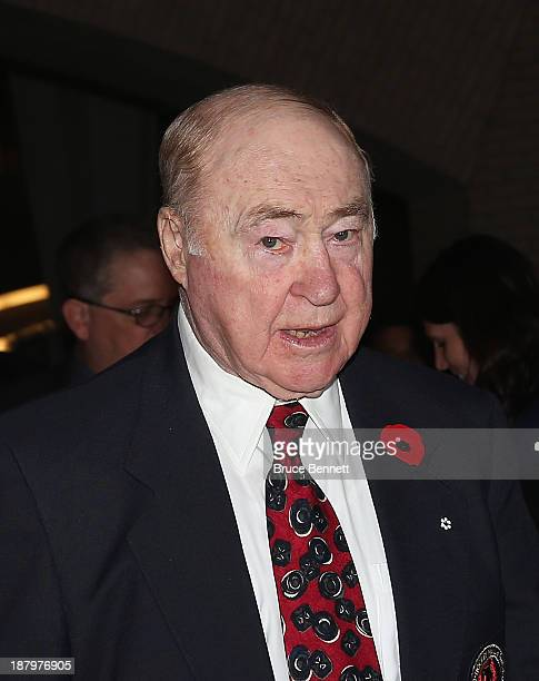 Red Kelly walks the red carpet prior to the 2013 Hockey Hall of Fame induction ceremony on November 11 2013 in Toronto Canada