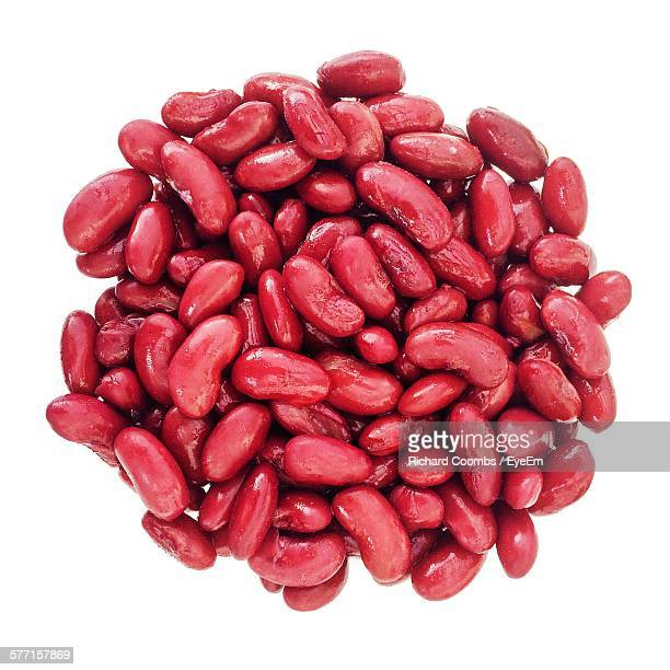 Red Kidney Beans Against White Background