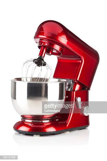 red kitchen stand mixer shot on white backdrop - appliance stock pictures, royalty-free photos & images