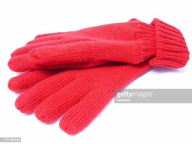 Rote gestrickte Handschuhe