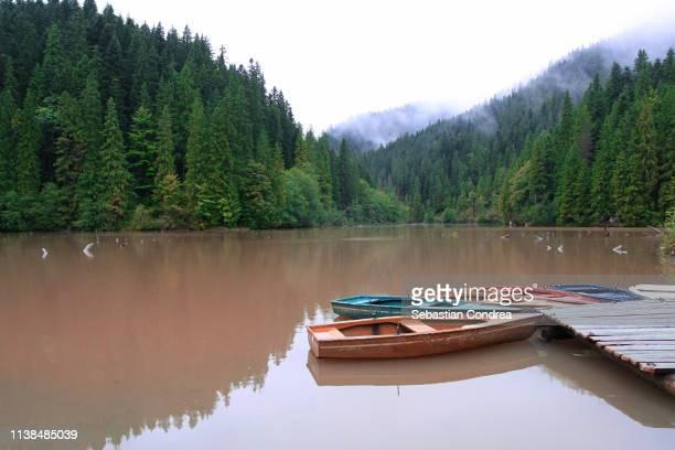 red lake, in bicaz, moldova, romania. - moldova stock pictures, royalty-free photos & images