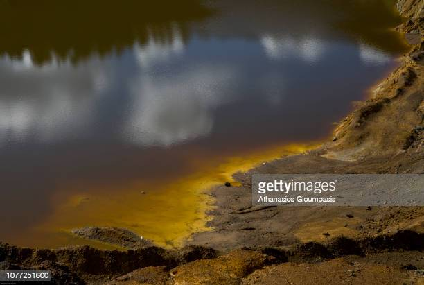 Red Lake in the abandoned Mitsero old mine on December 01, 2018 in Nicosia, Cyprus. Mitsero old mine was in operation from 1973 -1979 end the product...