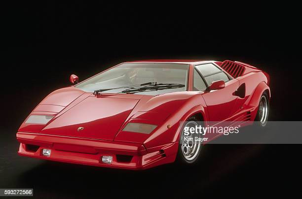 red lamborghini countach - lamborghini stock pictures, royalty-free photos & images