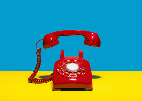 Red landline phone - gettyimageskorea