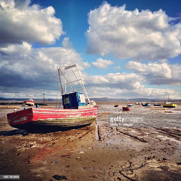 Red Landlocked Boat on Morecombe Bay