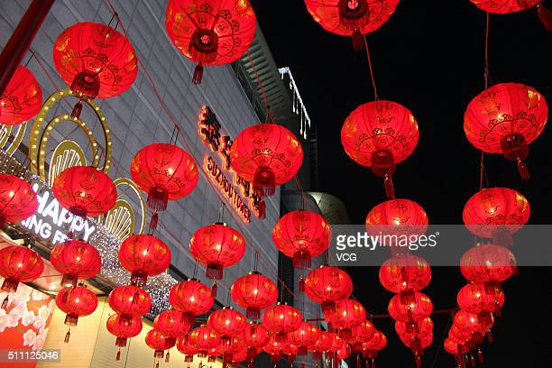 Red lanterns are hung high to celebrate the upcoming Lantern Festival on February 17, 2016 in Suzhou, Jiangsu Province of China. The Lantern...