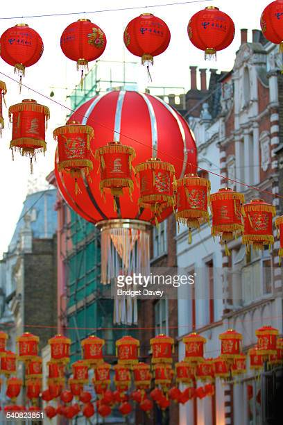 Red lanterns in China Town London UK Celebrations to welcome the Year of the Goat/sheep for the Chinese New Year February 2015