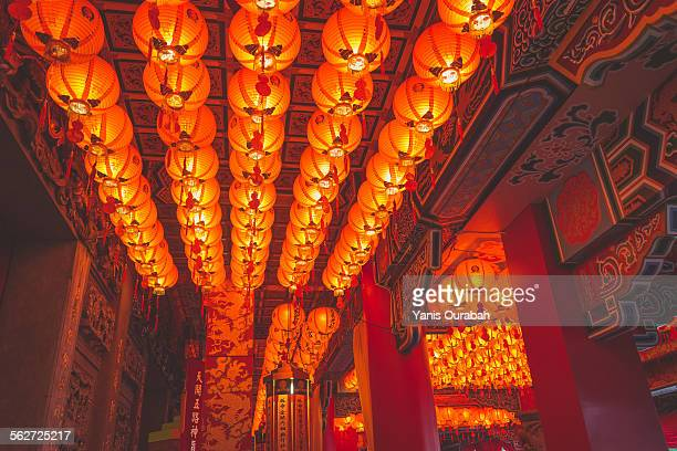 Red lanterns in Taipei temple, Taiwan