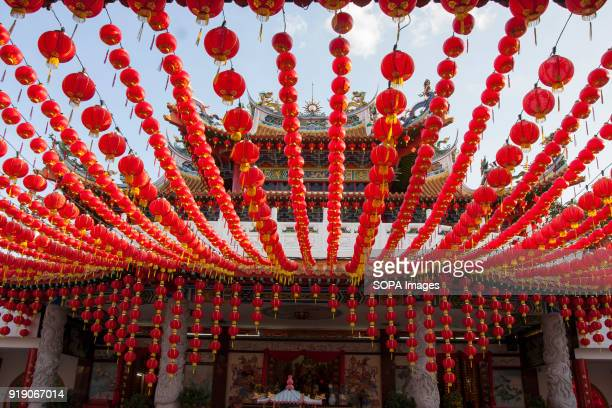 Red lanterns seen at the Thean Hou Temple on the first day of Chinese New Year Chinese New Year is the first day of the New Year in the Chinese...