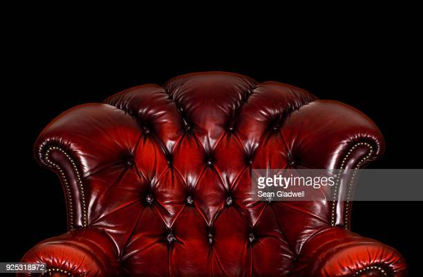 red leather armchair - chair stock pictures, royalty-free photos & images