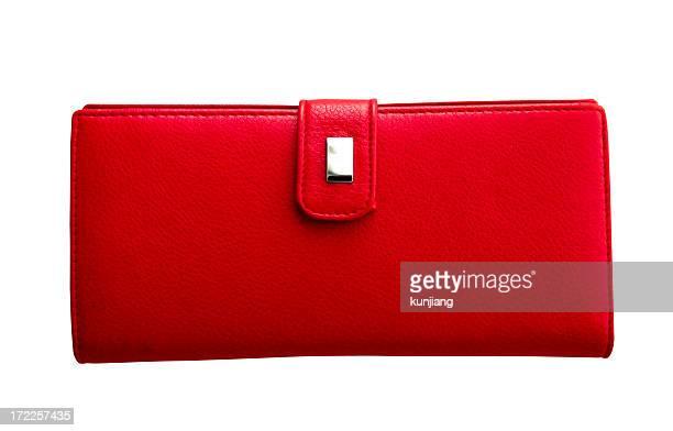 Bolsa de couro vermelho-isolado a branco