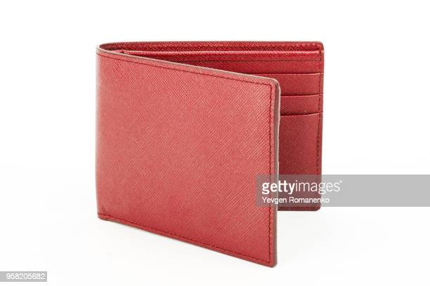 Red leather wallet isolated on white background