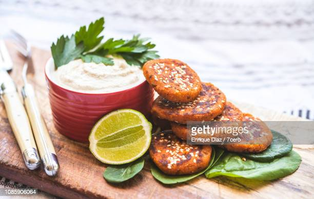 Red Lentil and Quinoa Barbeque Burger Patties with Lime and Cashew Ricotta
