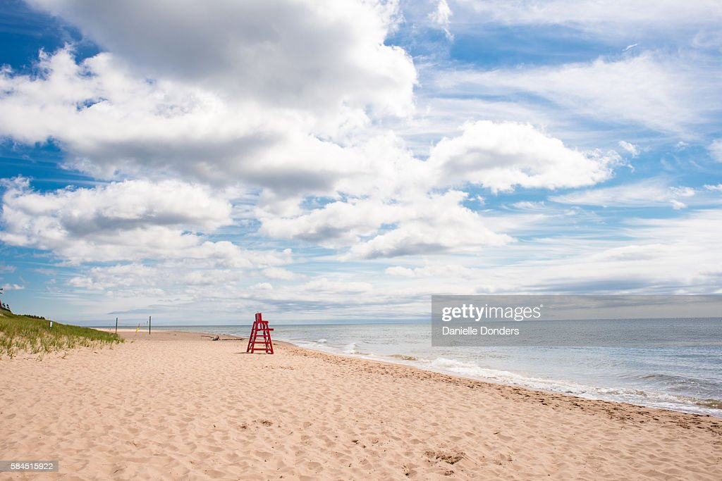 Red Lifeguard Chair On The Beach At Basin Head Pei Stock Photo ...