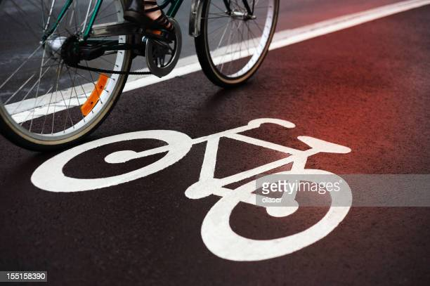 Red light reflecting in bicycle lane