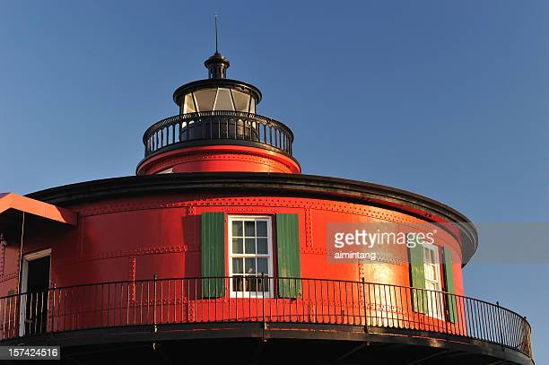 red lighthouse - baltimore maryland stock pictures, royalty-free photos & images