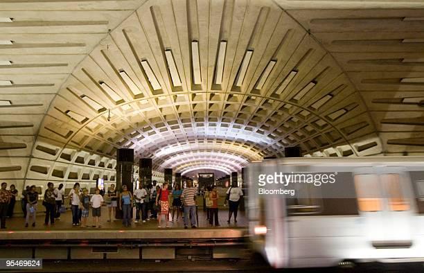 Red Line Metro train car pulls into the Metro Center station in Washington, D.C., U.S., on Monday, Aug. 24, 2009. Washington's Metro, run by the...