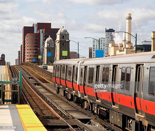 Red Line train - Salt and Pepper / Longfellow Bridge. Boston
