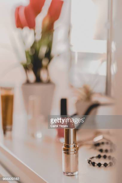 red lipstick on  dressing table - vanity stock pictures, royalty-free photos & images