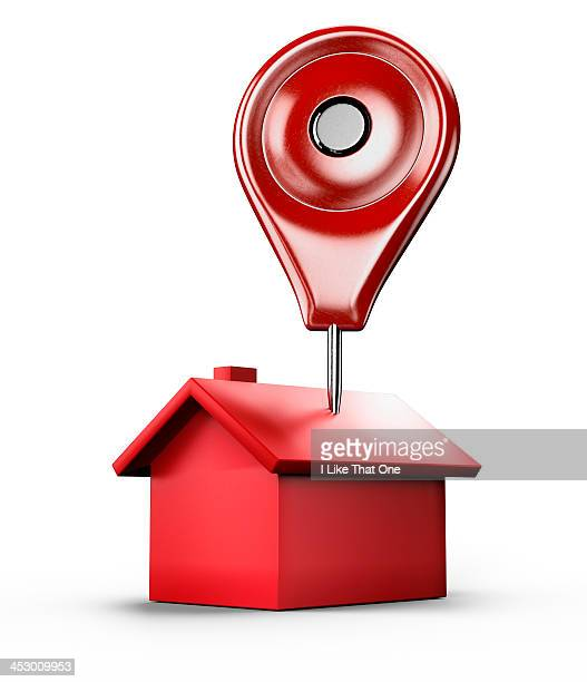 Red location pin stuck into a red house icon