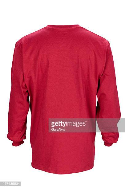 Red long sleeved, blank t-shirt back-isolated on white w/clipping path