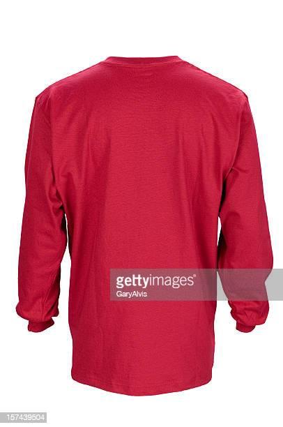 Rote langärmlige, leeren t-shirt Rücken, isoliert auf weiss Mit clipping path