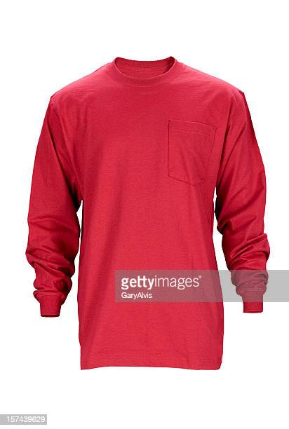 red long sleeved blank t-shirt front-isolated on white w/clipping path - long sleeved stock photos and pictures