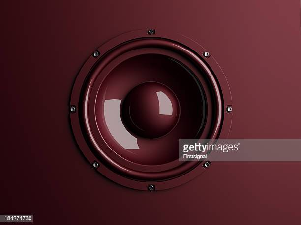 Red loudspeaker on background