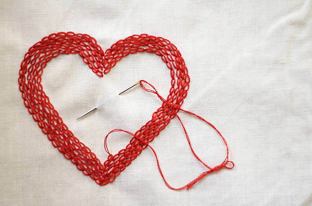 Red Love Heart Made With Needle And Thread Wall Art