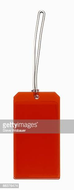 Red luggage, price, gift, I.D. or merchandise tag