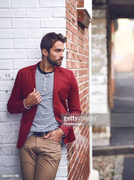 red makes me feel in control - menswear stock pictures, royalty-free photos & images