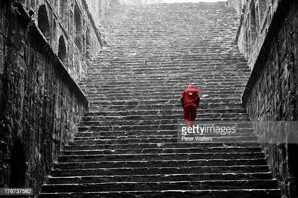 red man in a baoli in delhi - new delhi stock pictures, royalty-free photos & images