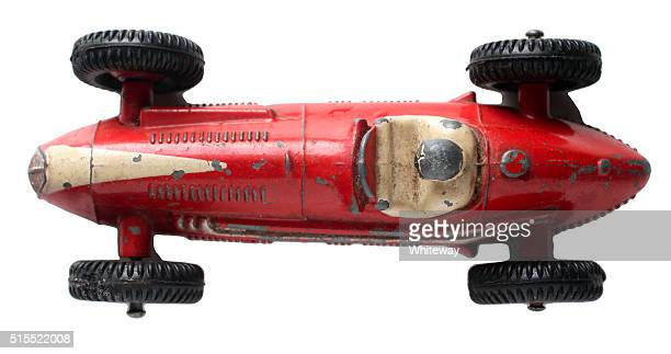 red maserati racing car top view dinky toys 23n 1953 - maserati stock pictures, royalty-free photos & images