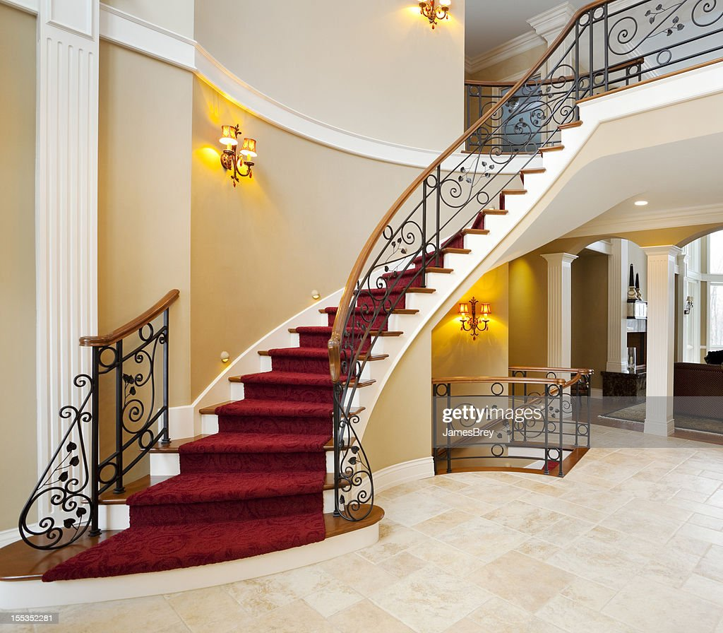 Red Master Staircase In Mansion Grand Foyer : Stock Photo
