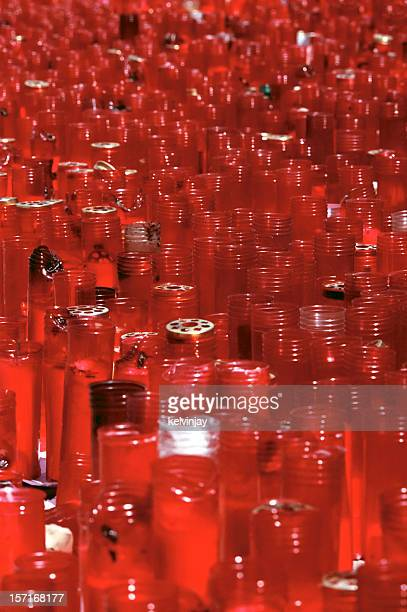 red memorial candles at atocha station, madrid - memorial event stock pictures, royalty-free photos & images
