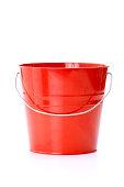 Red metal bucket with aluminum