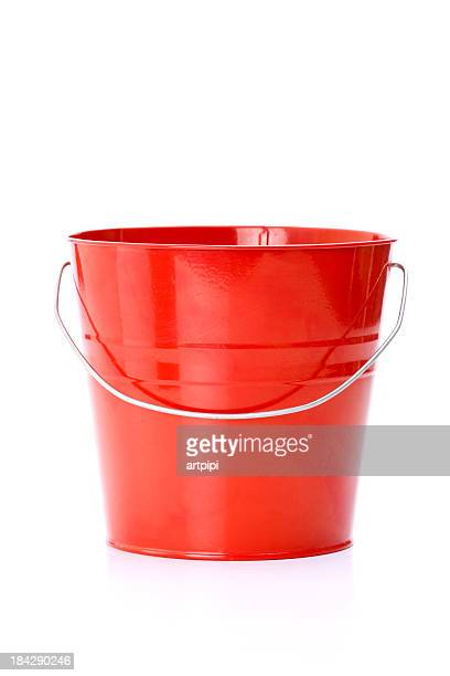 Red metal bucket with aluminum