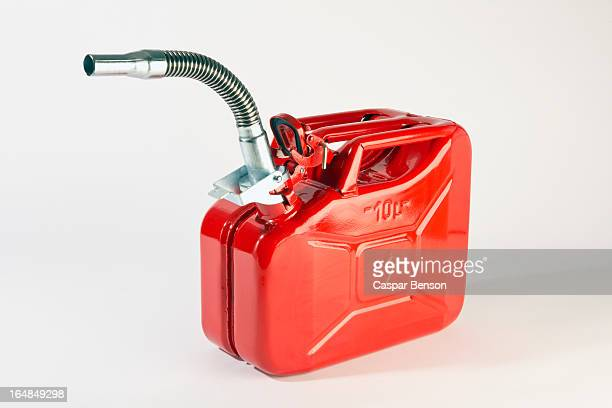 A red metal gasoline can